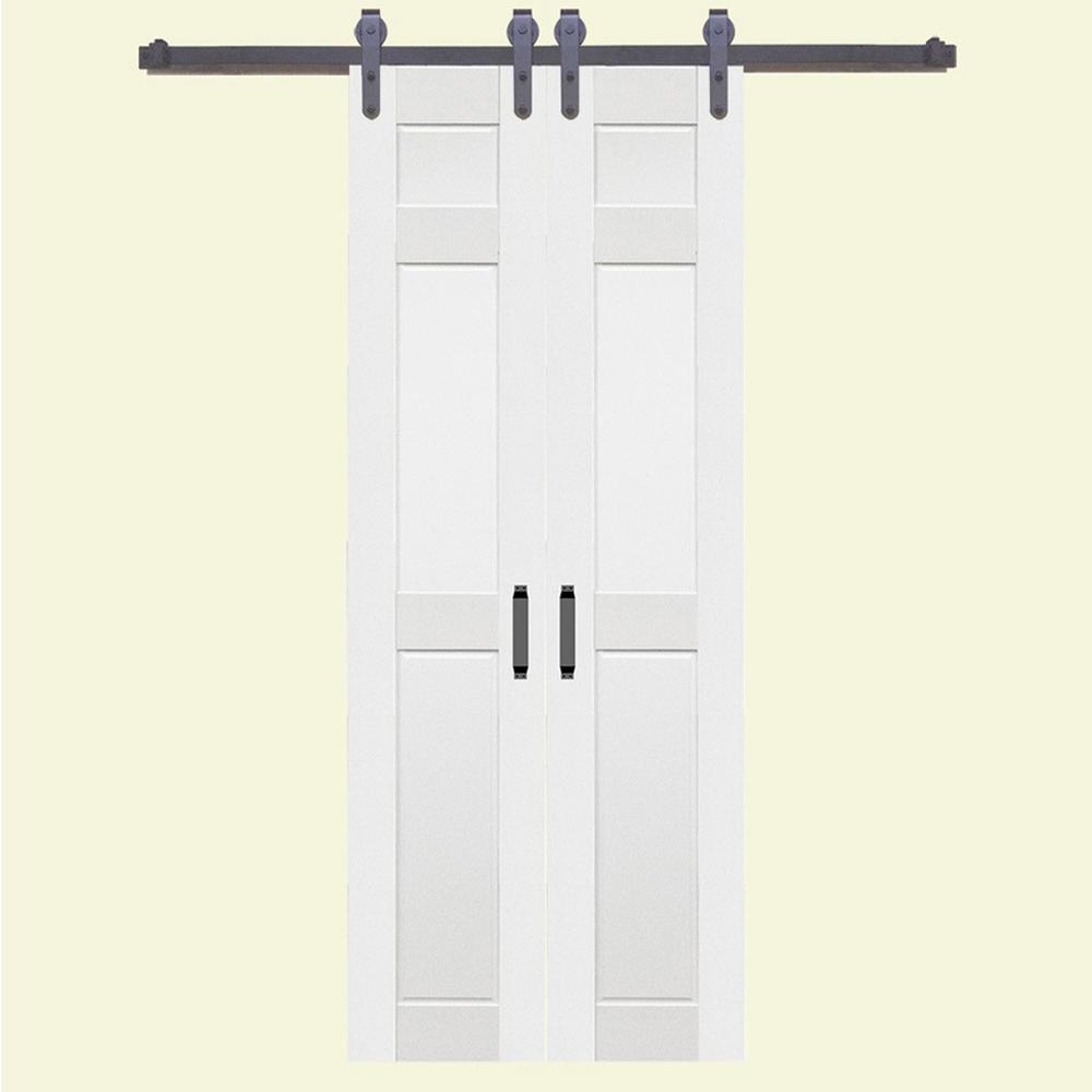 Home Fashion Technologies 36 In X 84 In 6 Panel Composite Pvc White Split Barn Door With Hardware Kit 8603684100 The Home Depot Modern Sliding Barn Door Barn Doors Sliding Garage Door Design