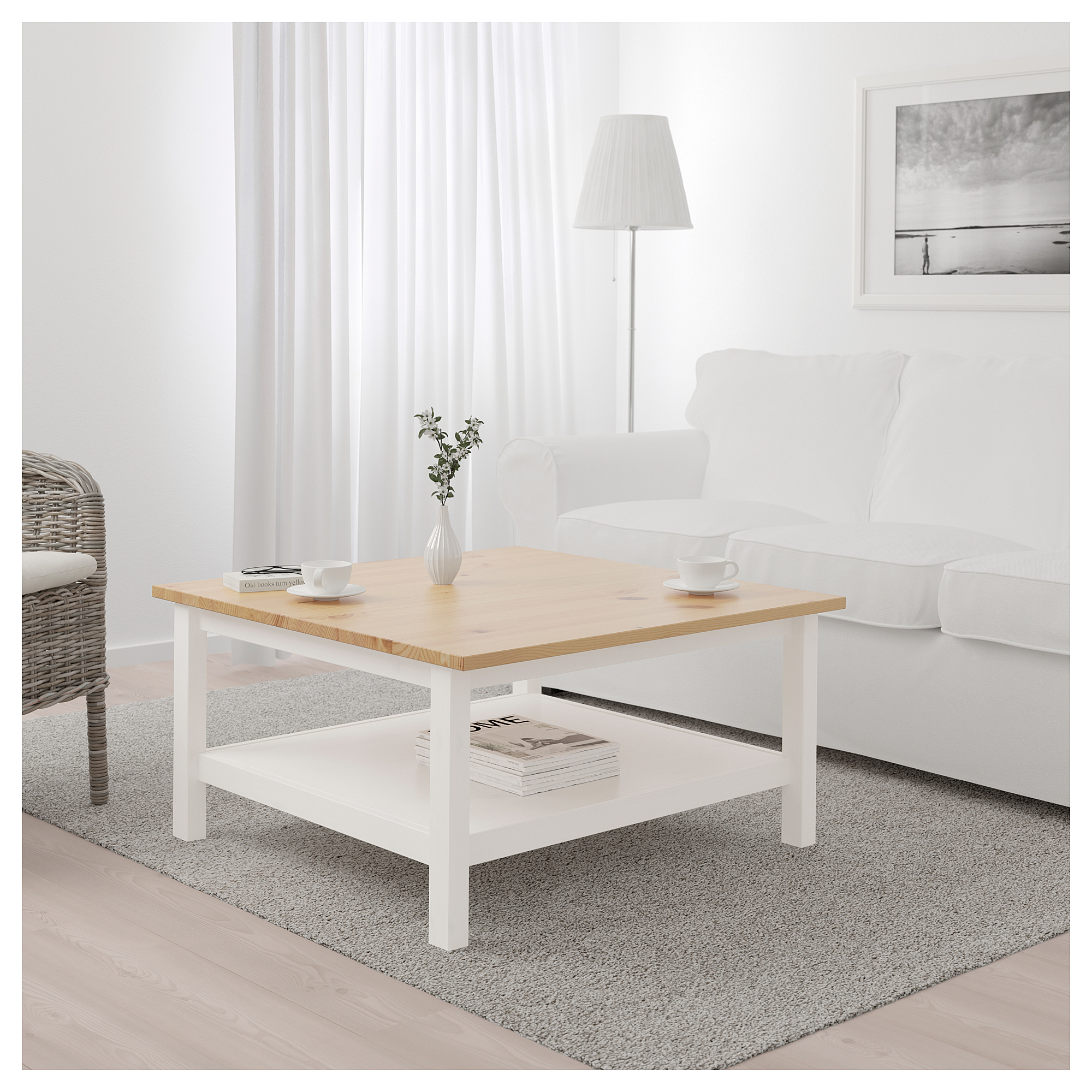 Ikea Hemnes Coffee Table White Stain Light Brown Table