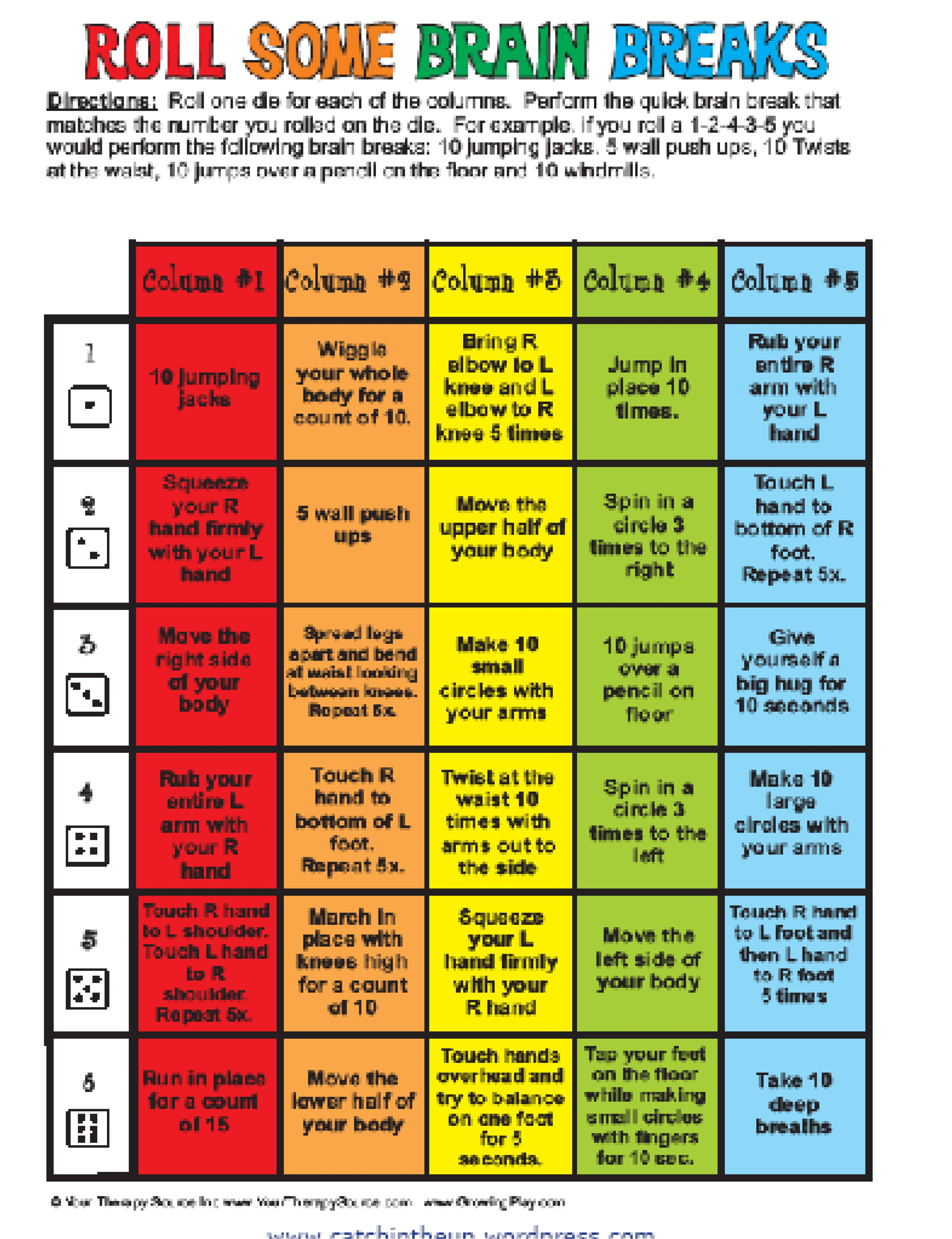Brain Breaks Handout With Images