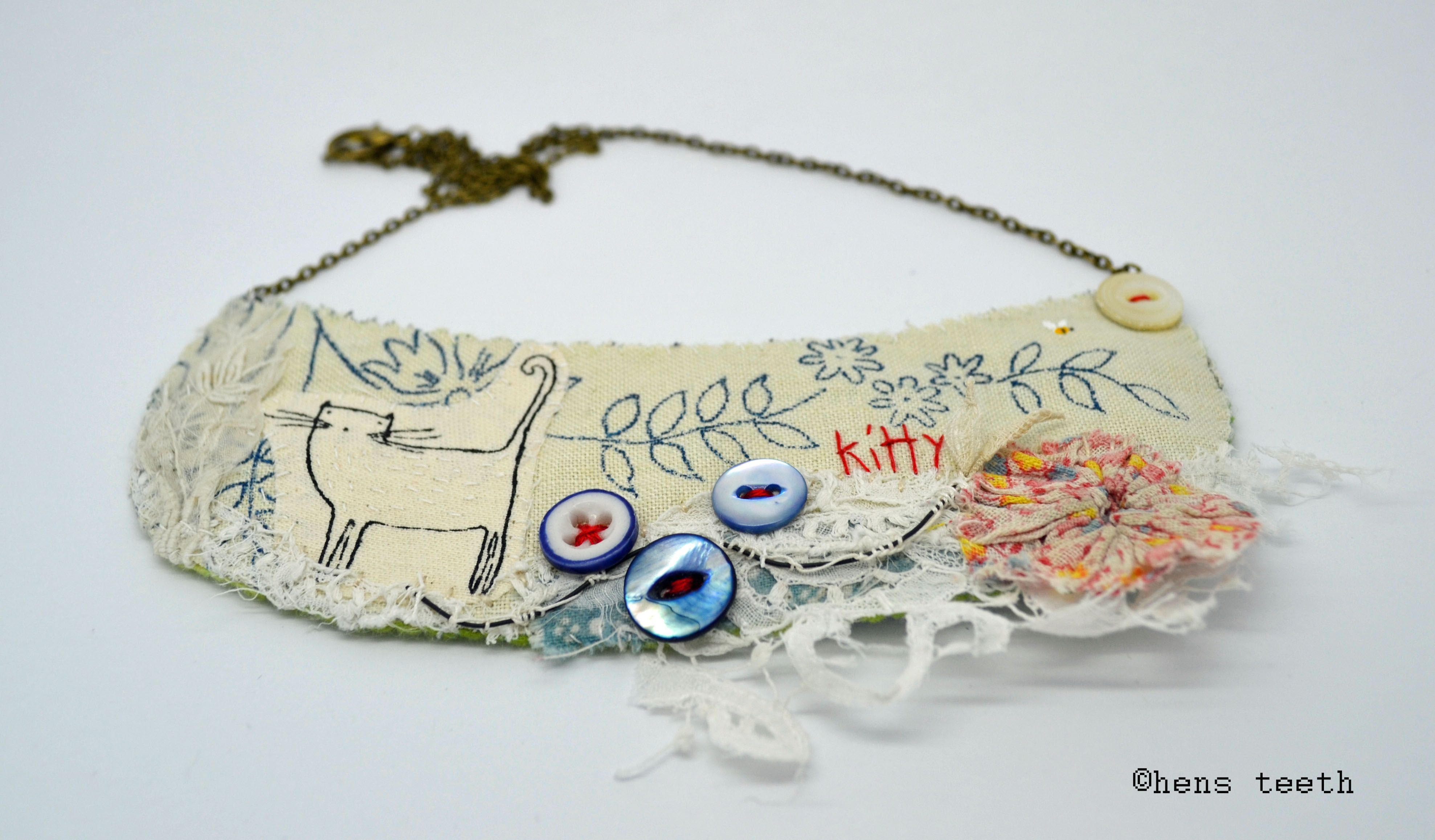 Pin by linda len on Fiber jewelry Embroidery art, Cat