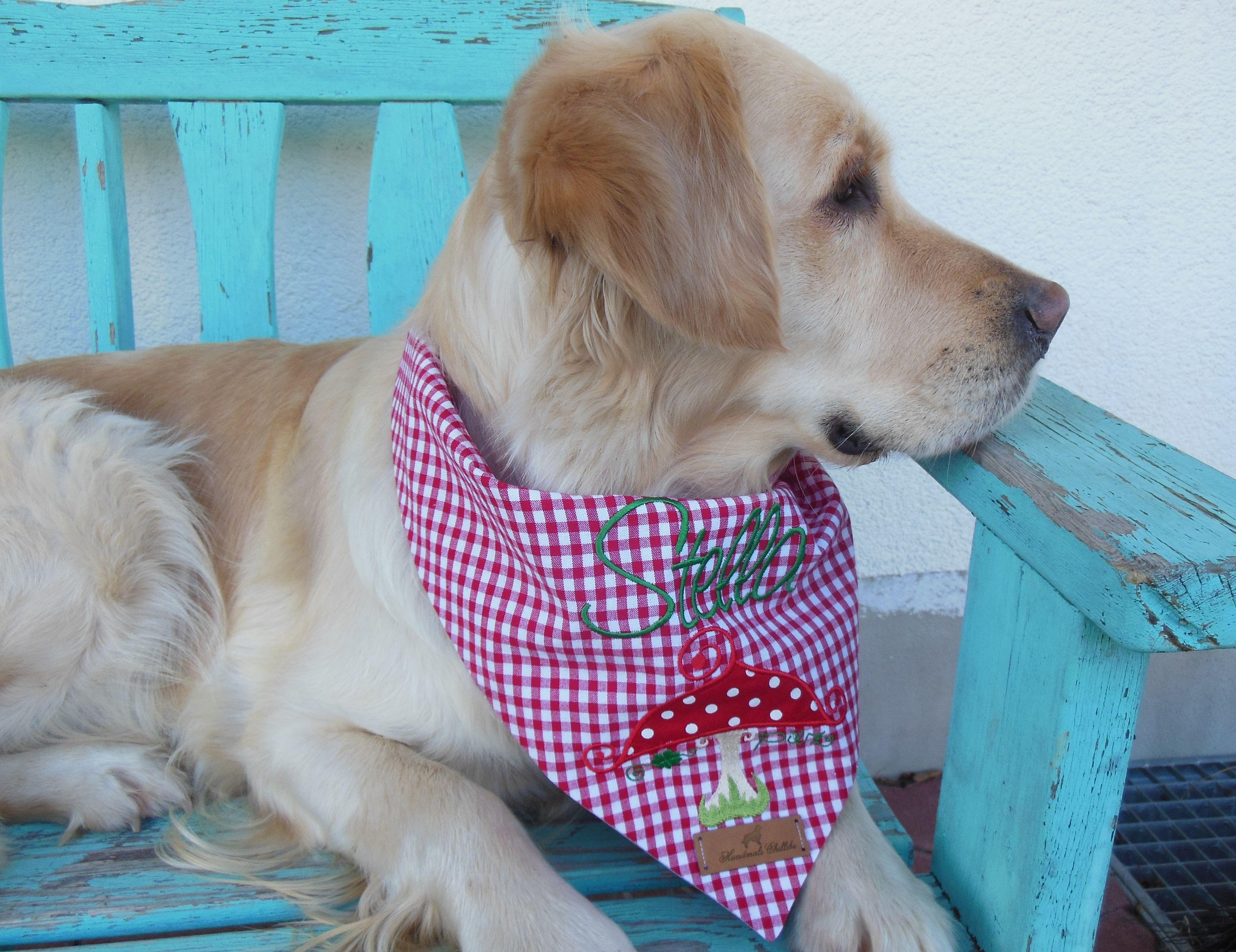 Glückspilz aufgestickt von luzia pimpinella individuelle Hundehalstücher von http://hundmali.blogspot.com