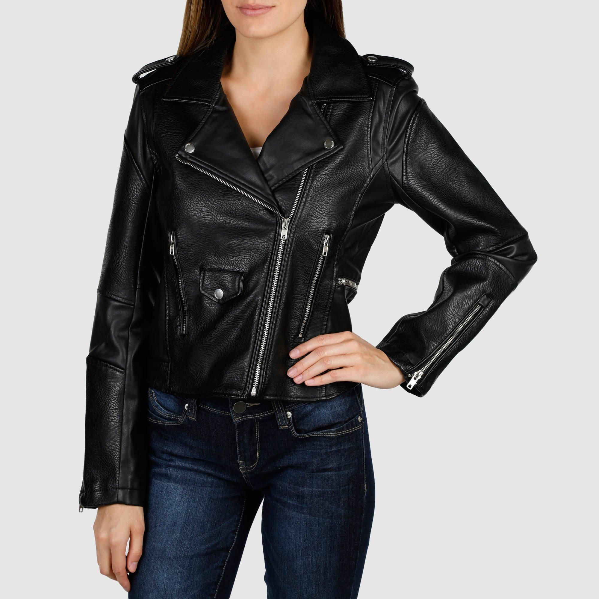 Women's Faux Leather Moto Jacket BlackBlack