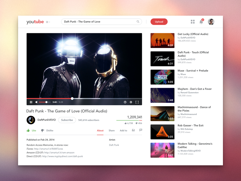 Youtube Redesign Youtube Web Design Redesign