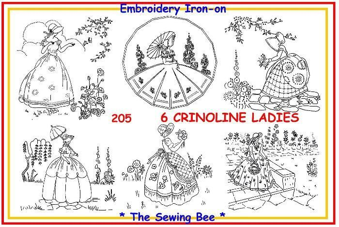 205 6 Crinoline Ladies Embroidery Transfer Patterns Hand