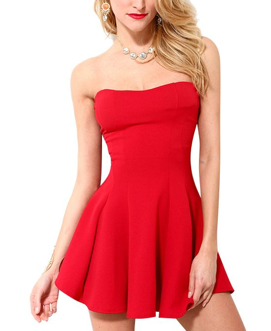 8b4007f5db4 Sexy Style Red Tube Top Dress