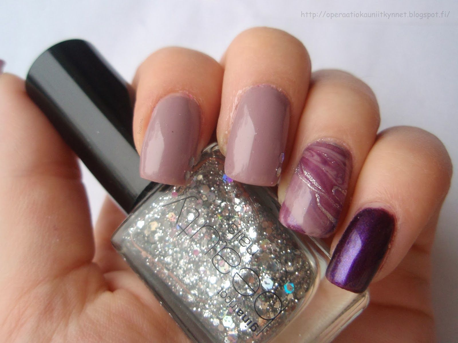Day 6: Violet Nails - Depend 379, Lumene Natural Code Party On, OPI This Gown Needs A Crown, Gina Tricot Sparkling Silver