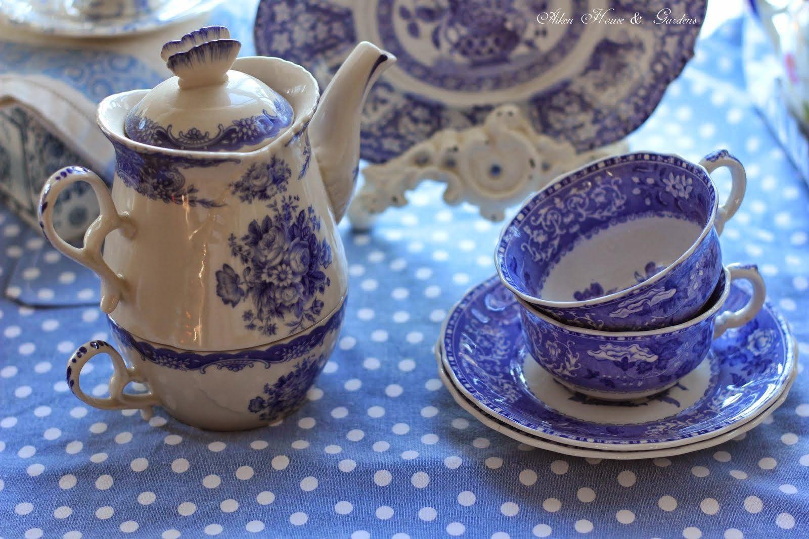 Aiken House & Gardens: Blue & White transferware, The teacups are Spode.