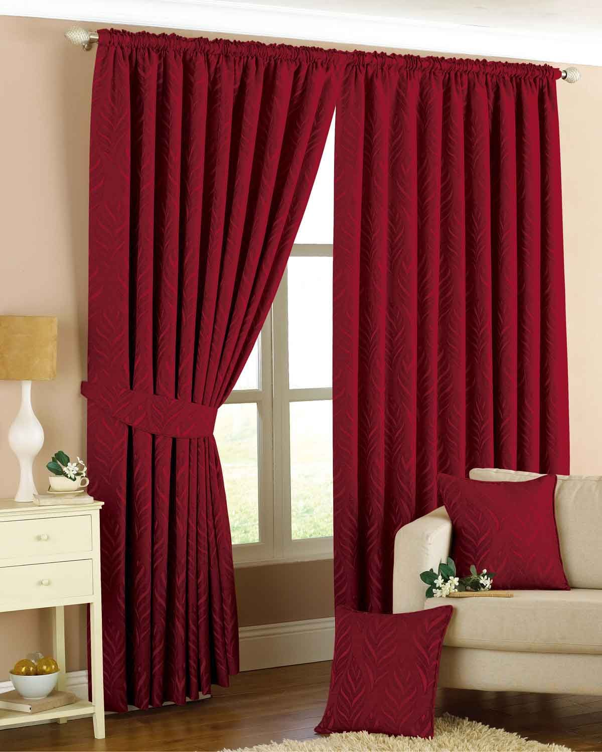 Narrow Leaf Ready Maded Lined Curtains Red Home Additions Room
