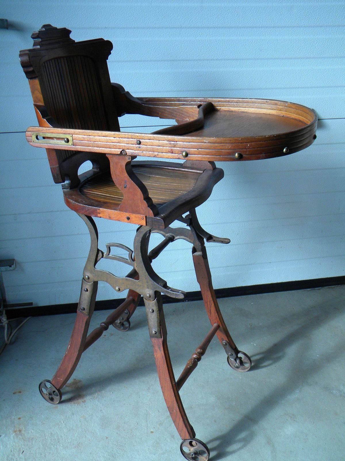 Antique pre 1900s high chair stroller antique high