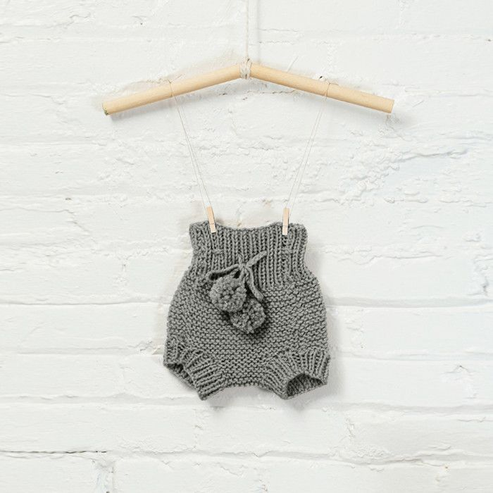 knitted grey baby bloomers | rylee and cru