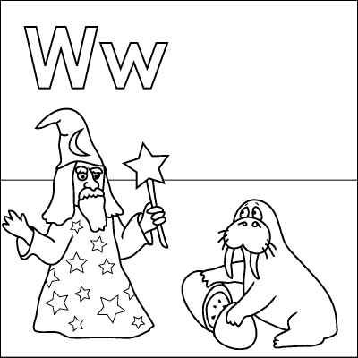 Letter W coloring page (Wizard, Wand, Walrus, Watermelon ...