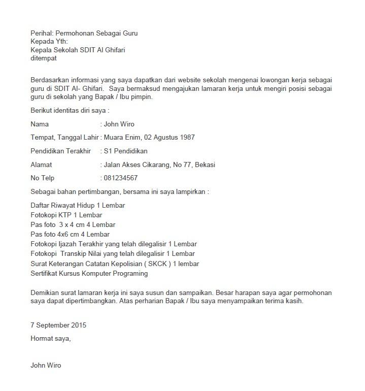 contoh surat lamaran kerja untuk staff administrasi