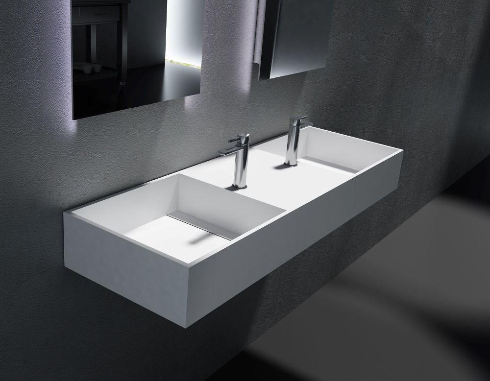 Solid Surface Wastafel : Cross tone solid surface standaard wastafel b120xd40xh15cm
