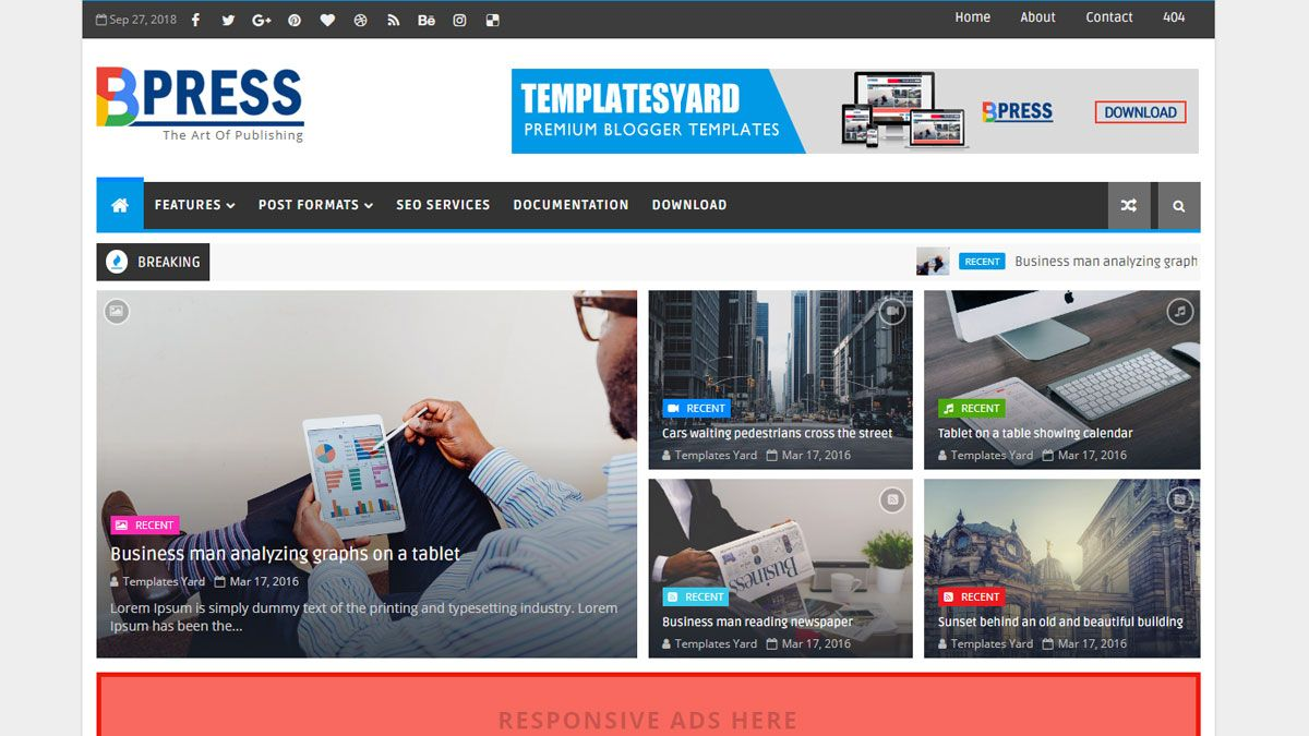 Great List Of Best Responsive Blogger Themes For 2018 2019 Which Are Free And Inspired Popul Magazine Blogger Template Blogger Templates Free Blogger Templates