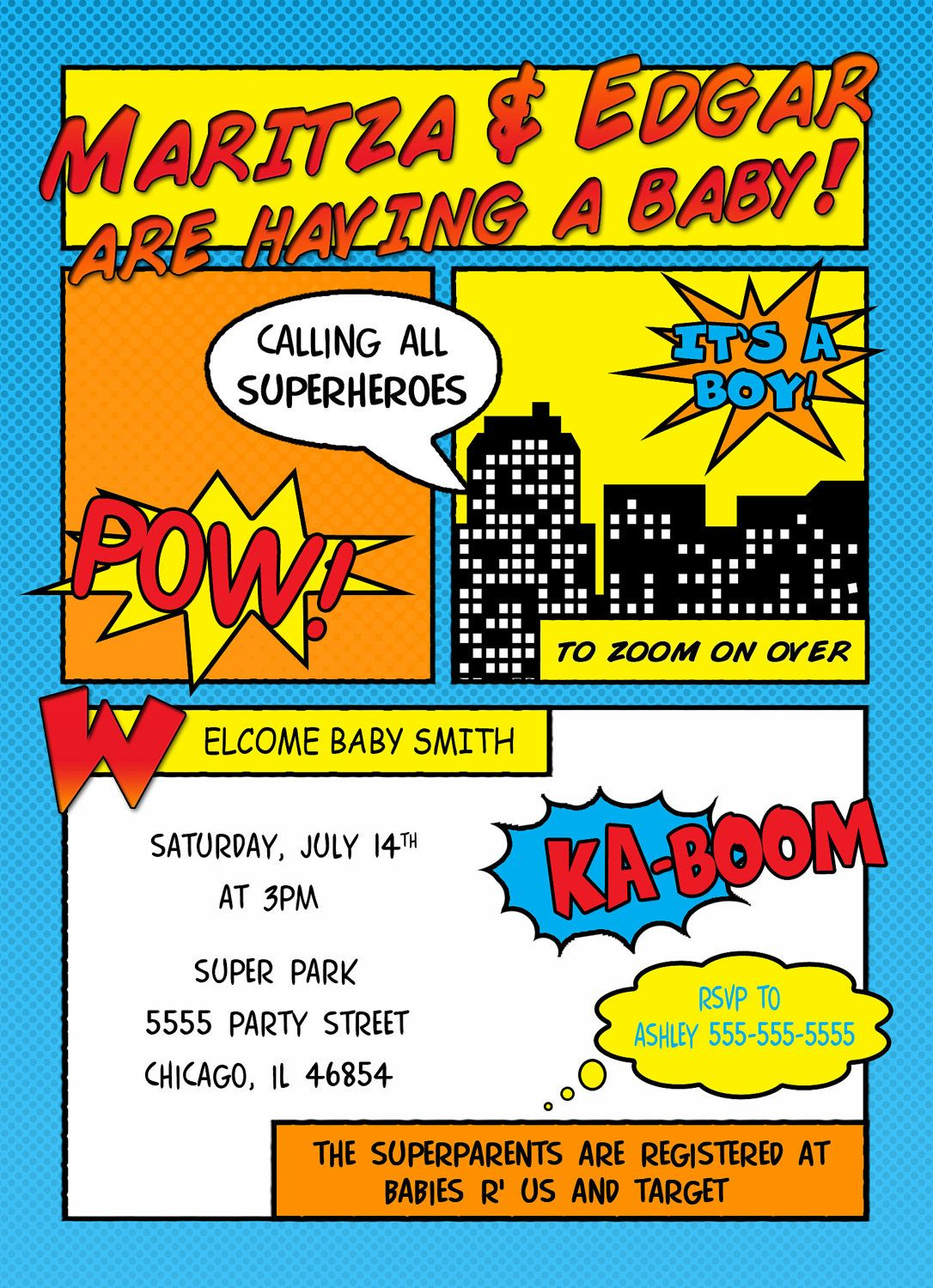Comic Superhero Baby Shower Invitation. $15.00, via Etsy. | parties ...
