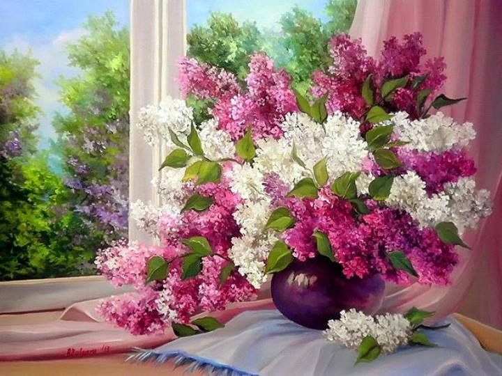 ✿Bouquet  Full Of Flower Basket✿ Bouquet behind the window