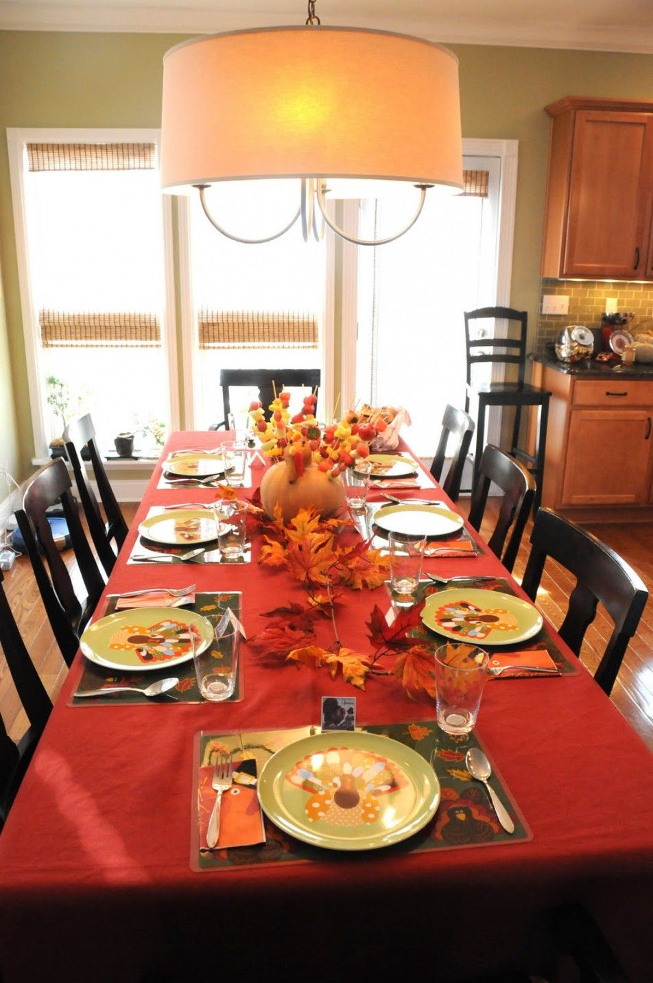 Decoration:Breathtaking Thanksgiving Decorating Ideas With Chandeliers Also  Cozy Dining Sets With Red Table Cloth And Wood Chairs Also Wood Cabinets  And ...