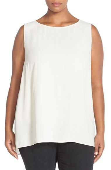 c8e5d43ef65ae Eileen Fisher Long Bateau Neck Silk Shell (Plus Size) available at   Nordstrom