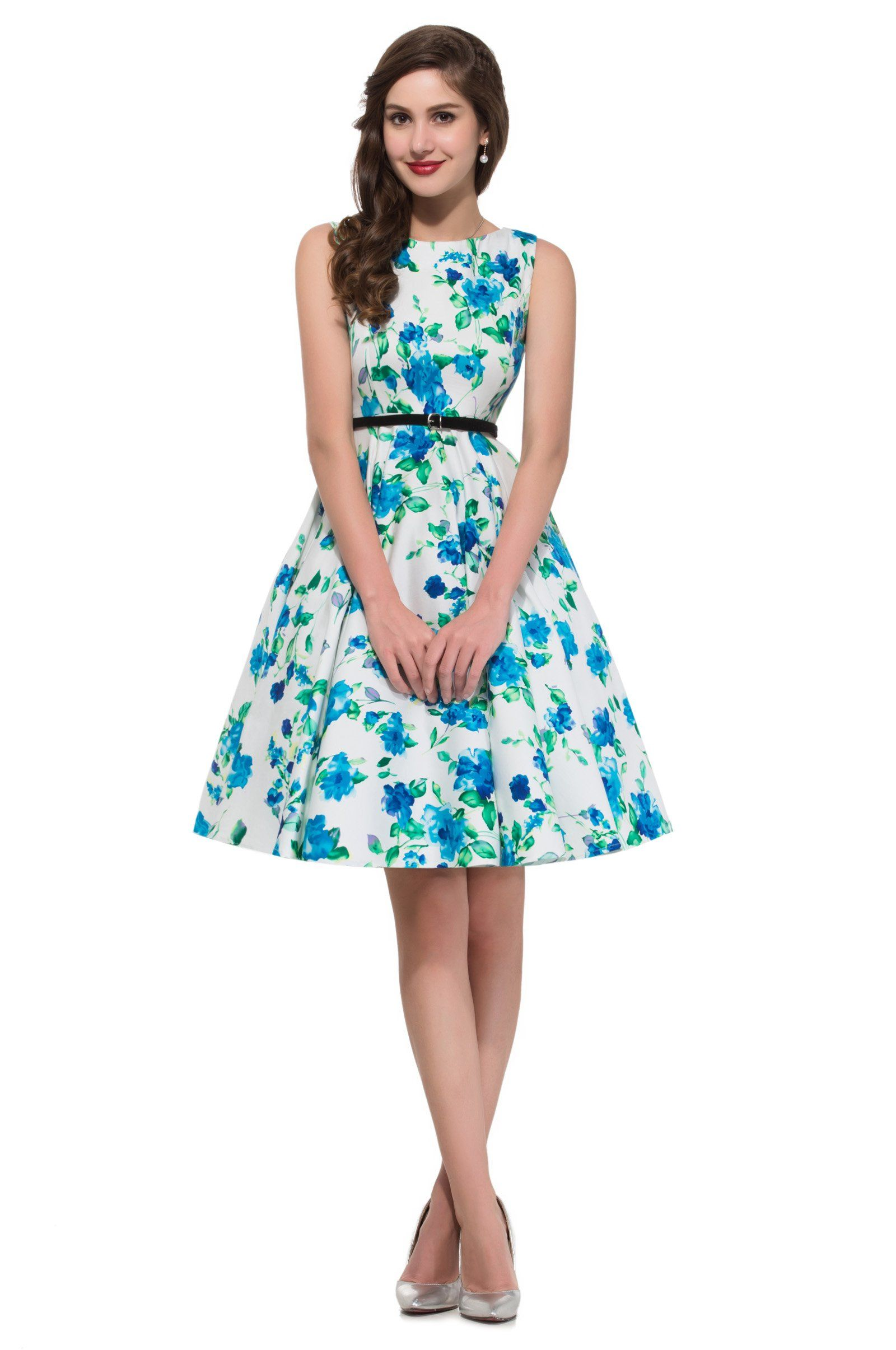 Womens Sleeveless Floral Print Vintage Prom Dress 22 Colors at ...