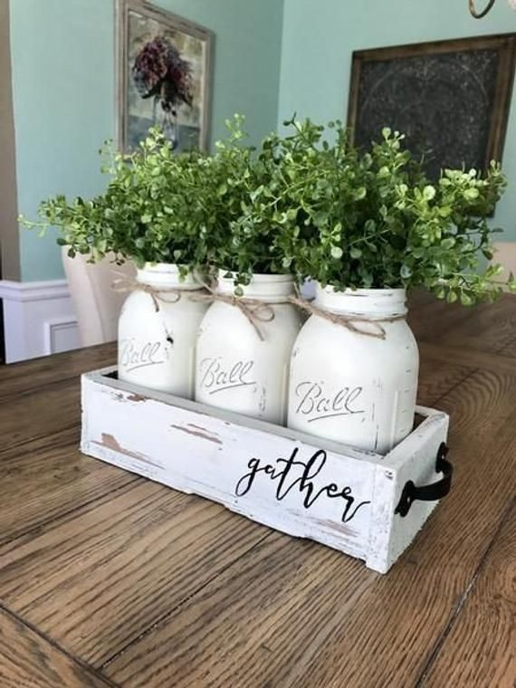 Custom Mason Jar Centerpieces, hand painted box, farmhouse table centerpiece