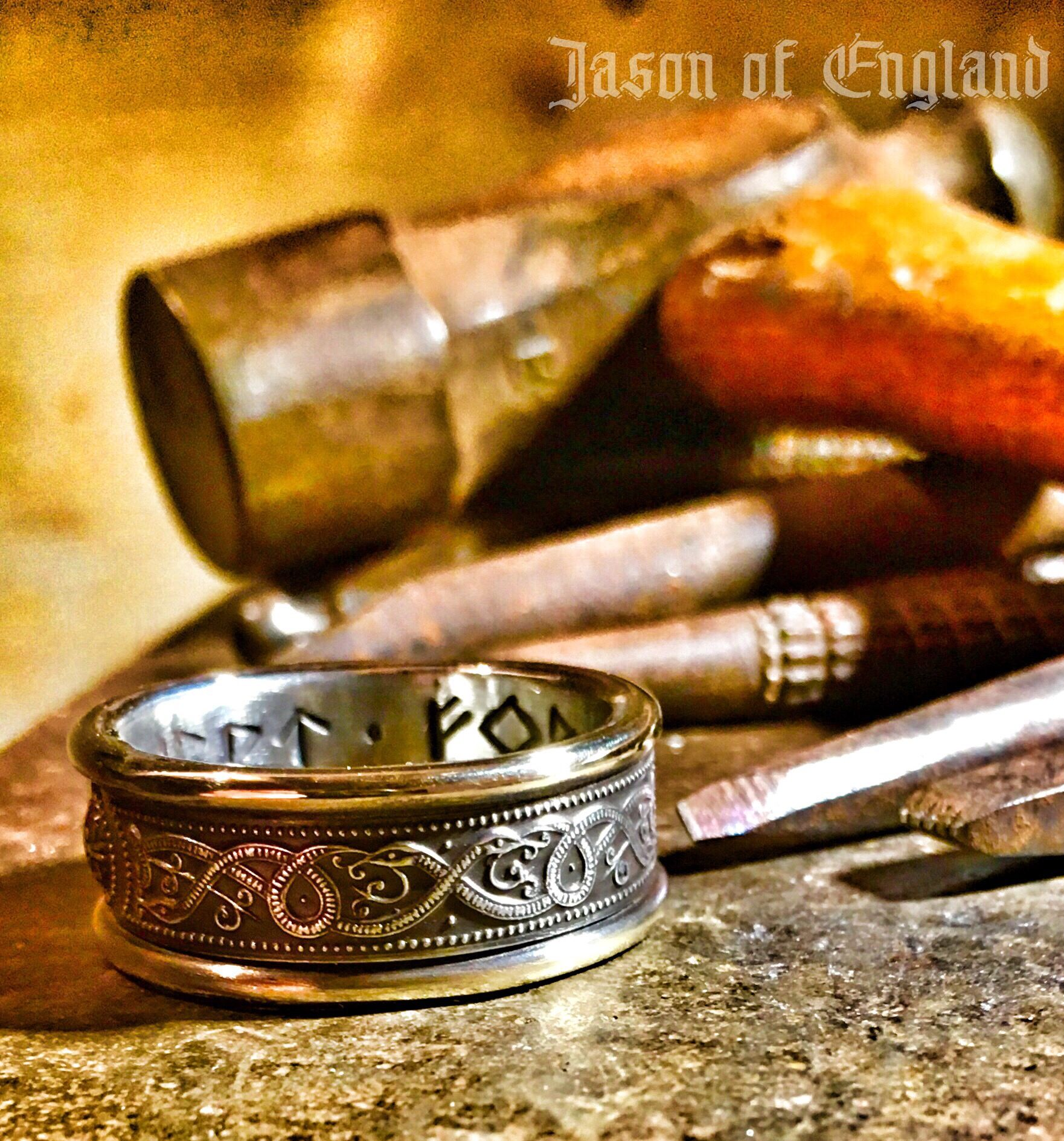 On my anvil, today... Silver and Gold Serpent ring with