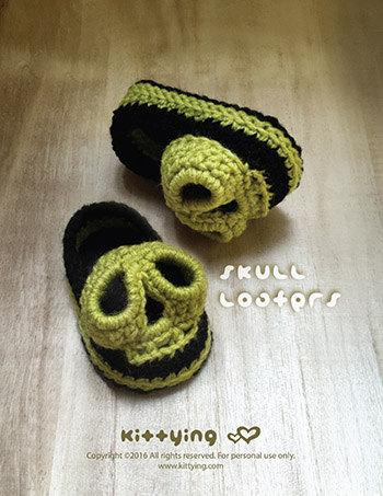 Halloween Crochet Pattern Skull Baby Loafers Crochet Pattern Preemie ...