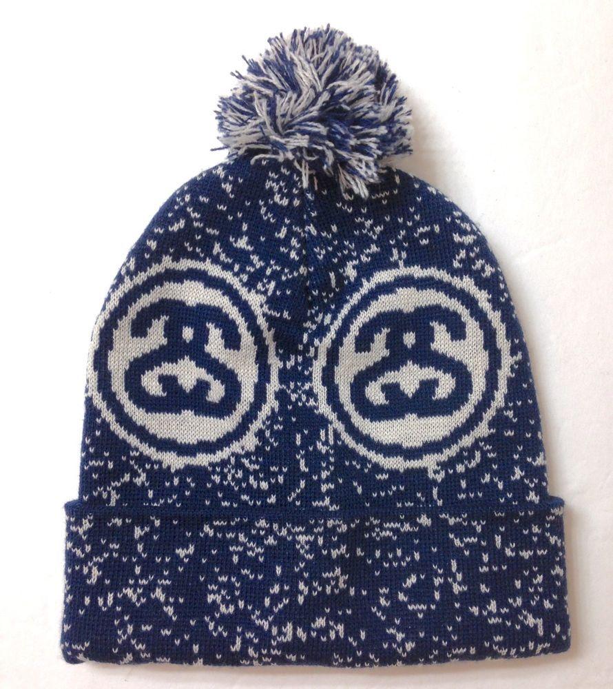 RARE New STUSSY POM BEANIE Navy-Blue Off-White Speckle Winter Knit Hat Men  Women  Stussy  Beanie d886a0b302