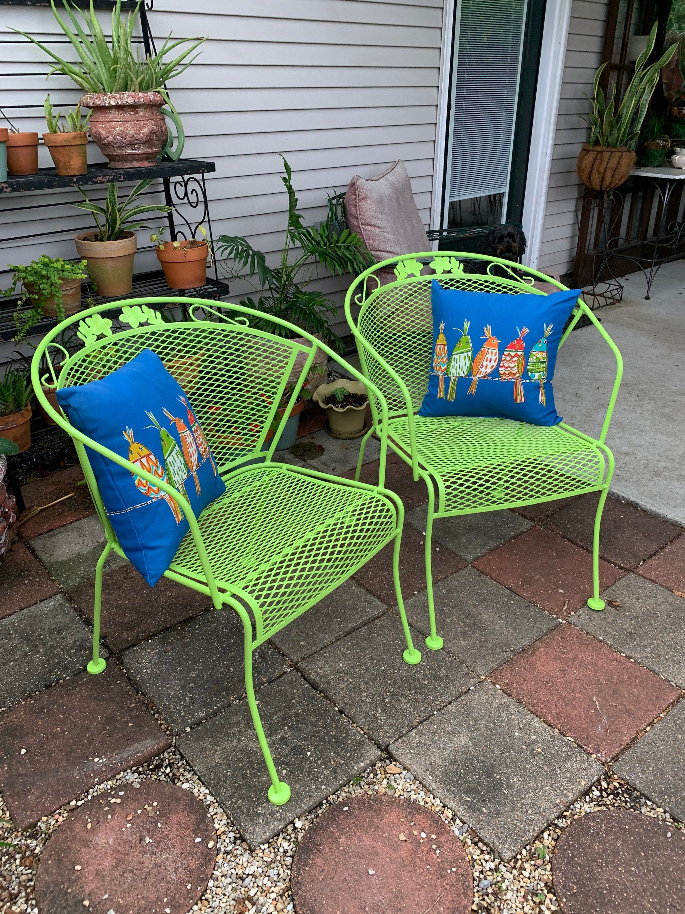 Excited To Share This Item From My Etsy Shop Pair Of Wrought Iron Barrel Patio Chairs Lime Green Iron Patio Furniture Lime Green Pillows Wrought Iron Chairs