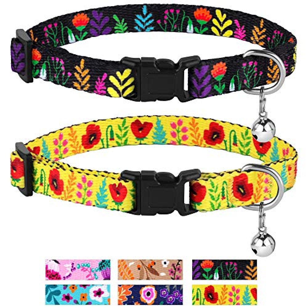 Collardirect Cat Collar With Bell Floral Pattern 2 Pack Set Flower Adjustable Safety Breakaway Collars For Cats Kitten In 2020 Cat Collars Bling Cat Collars Cats And Kittens