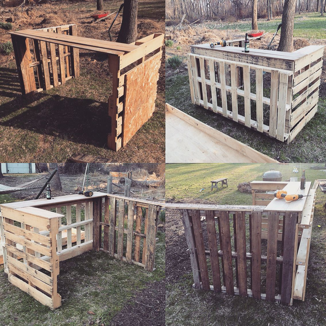 diy project building my tiki bar from pallets so far so