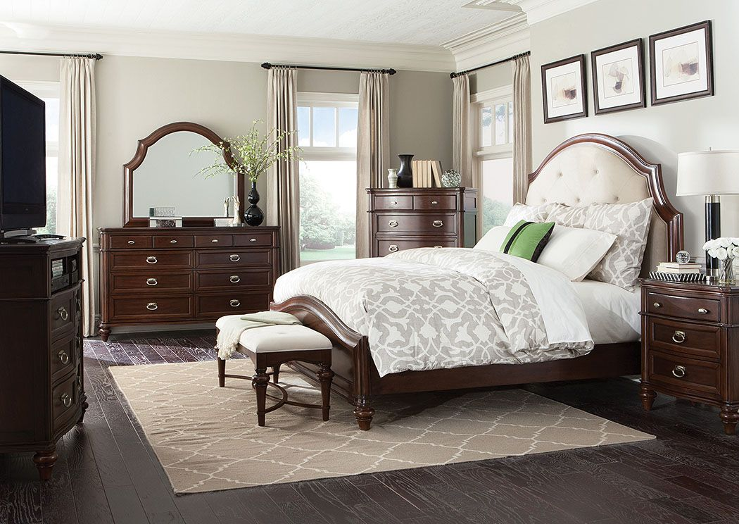 Furniture U0026 Bedding Direct   West Monroe, LA Walnut Upholstered Queen Bed  W/ Dresser And Mirror