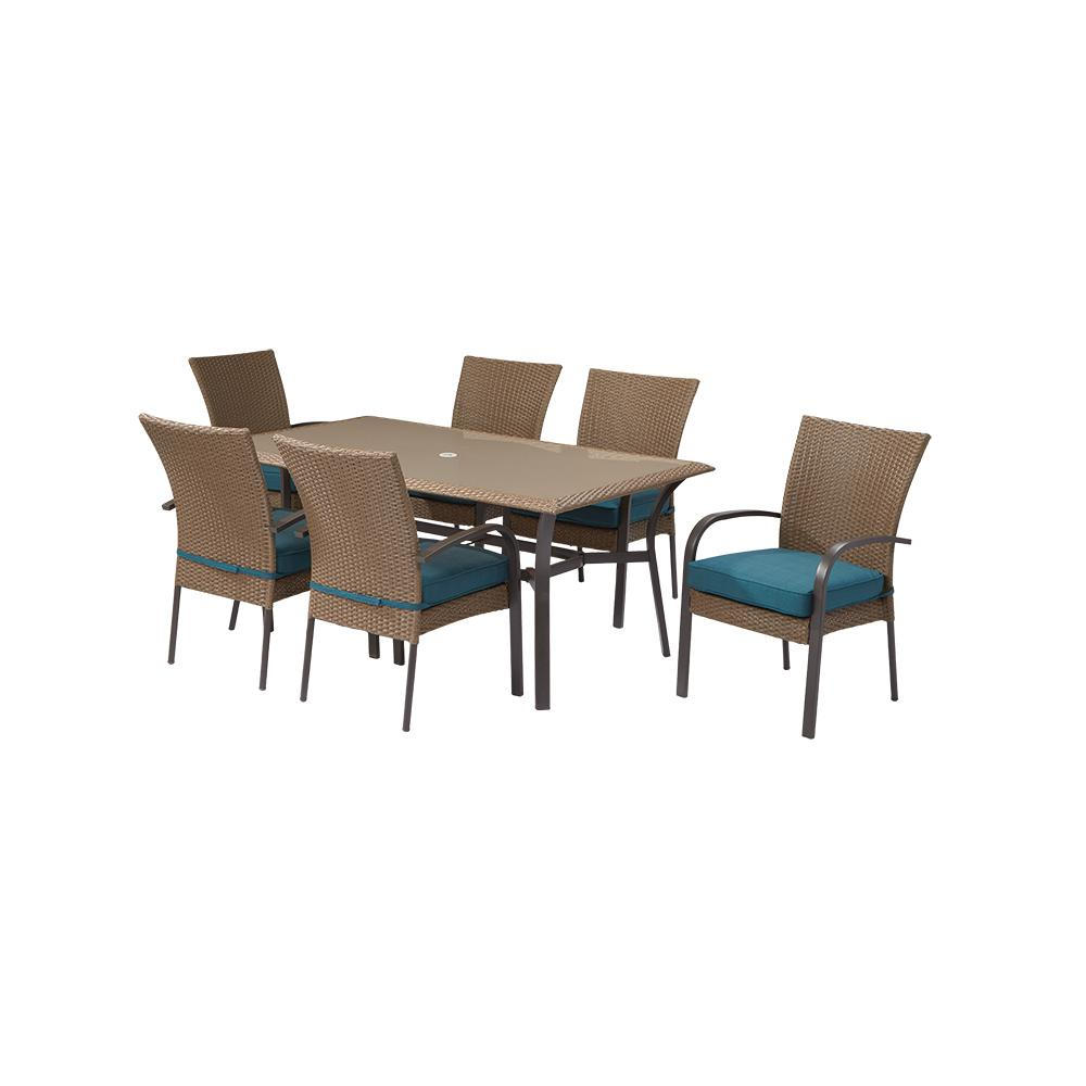 hampton bay corranade 7 piece wicker outdoor dining set with rh pinterest com