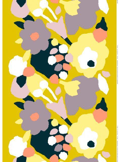 Päivänsankari heavyweight cotton (yellow, grey, black) |Fabrics, Cottons | Marimekko