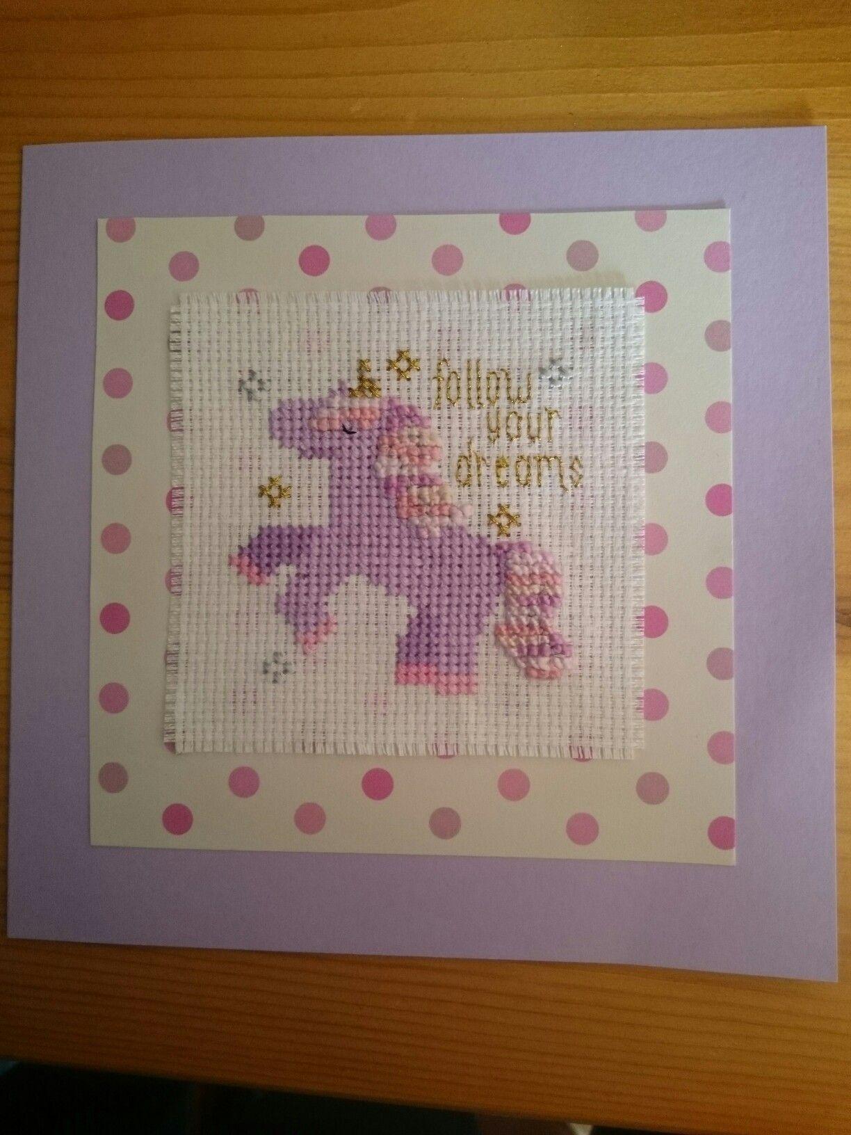 Unicorn cross stitch birthday card Cross stitch designs