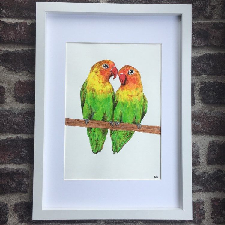 Love birds painting colourful original framed acrylic