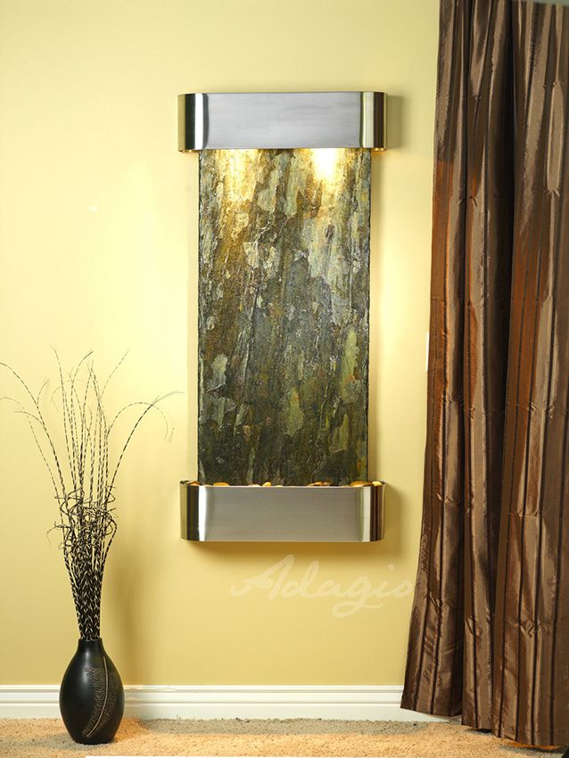 Adagio Wall Fountains - Cascade Springs - Round Stainless Steel ...