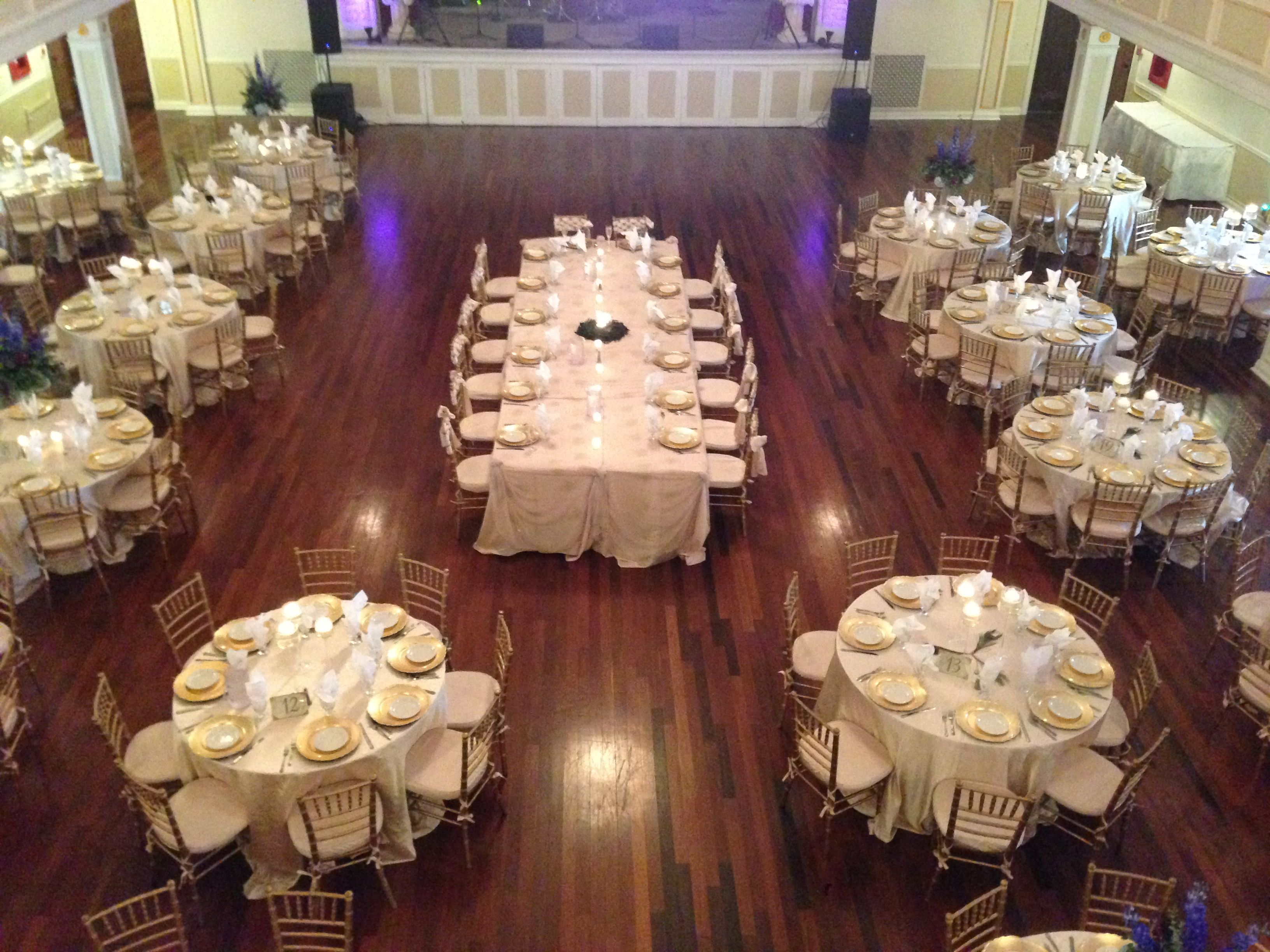 Our Grande Ballroom with a head table set up as a captains table