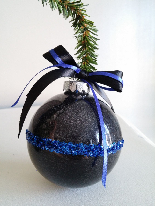Graduation christmas ornament - Thin Blue Line Ornament Police Ornament Law Enforcement Ornament Glitter Ornament With Thin Blue Line Bow Christmas Cop Gift Leo Gift