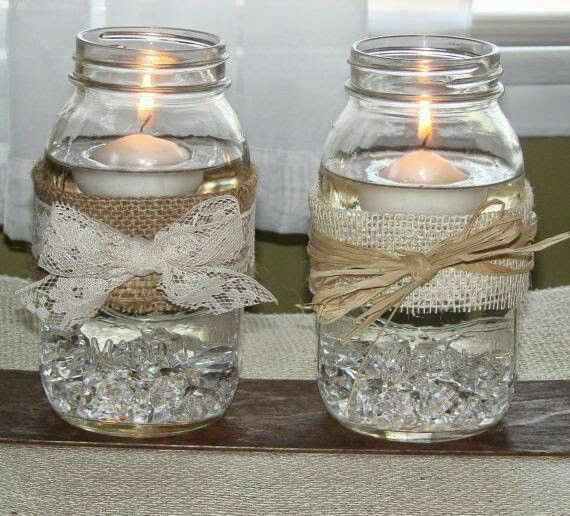 Great Candle Idea Easy To Make And By The Way You Can Pick Up A Lot Of Ideas From The 98 Cent Store Dollar General Mason Jar Wedding Burlap Wedding Mason Jars