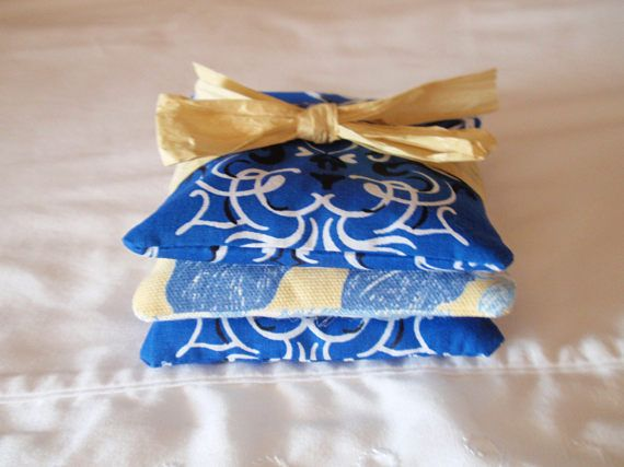 HANDMADE Lavender Sachets Assorted Royal Blue & Yellow