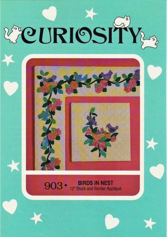 Birds In Nest Curiosity Applique Block & Border Quilt Pattern