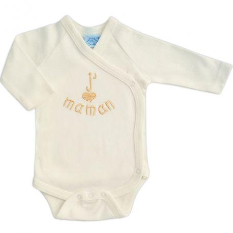 a66cc33c6f9fe Body bébé en coton crème brodé J aime Maman   Babystock
