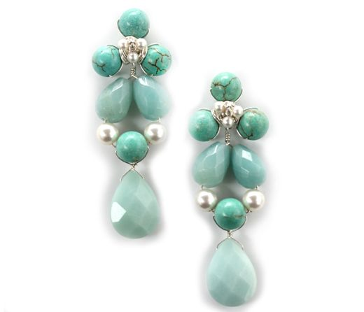 Cina Earrings. Amazonite, Swarovski pearls and Turquoise. Cristina Amador