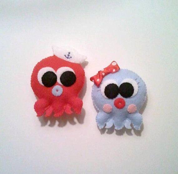 Ned & Nora Octopus Felt Plushies by heartfeltbymsmegas on Etsy, $33.00