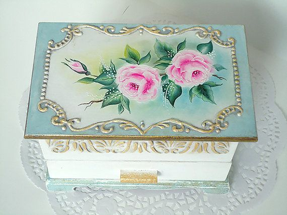 Reserved Hand Painted Shabby Chic Box By Joliefleurdeco