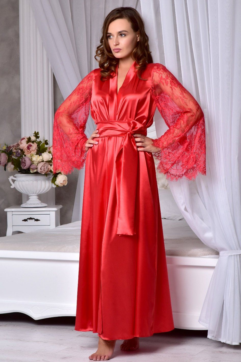 02f89611e1 Valentines day gift for her Red sexy long robe with lace sleeves ...