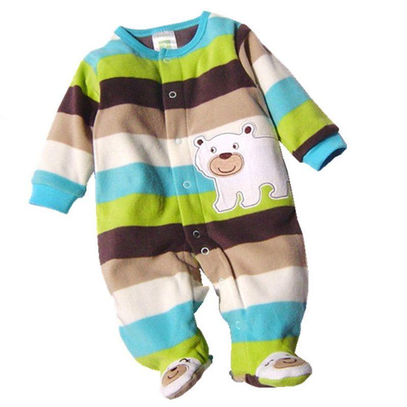 0b0a477bba5d Autumn Winter Baby Rompers Clothes Newborn Boy Girl Polar Fleece ...