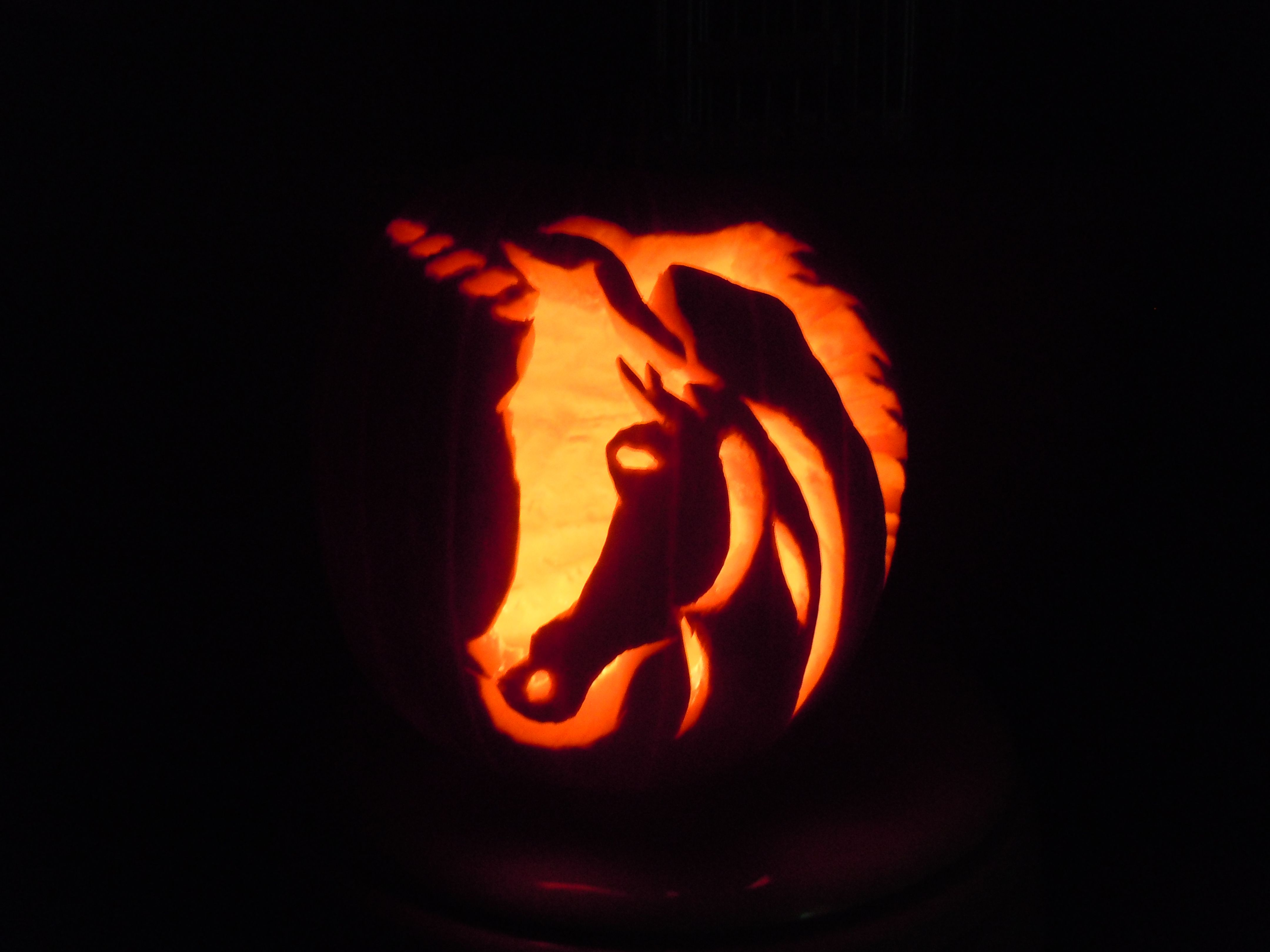 Pumpkin Carving of a unicorn my daughter did 2 years ago | Pumpkin ...