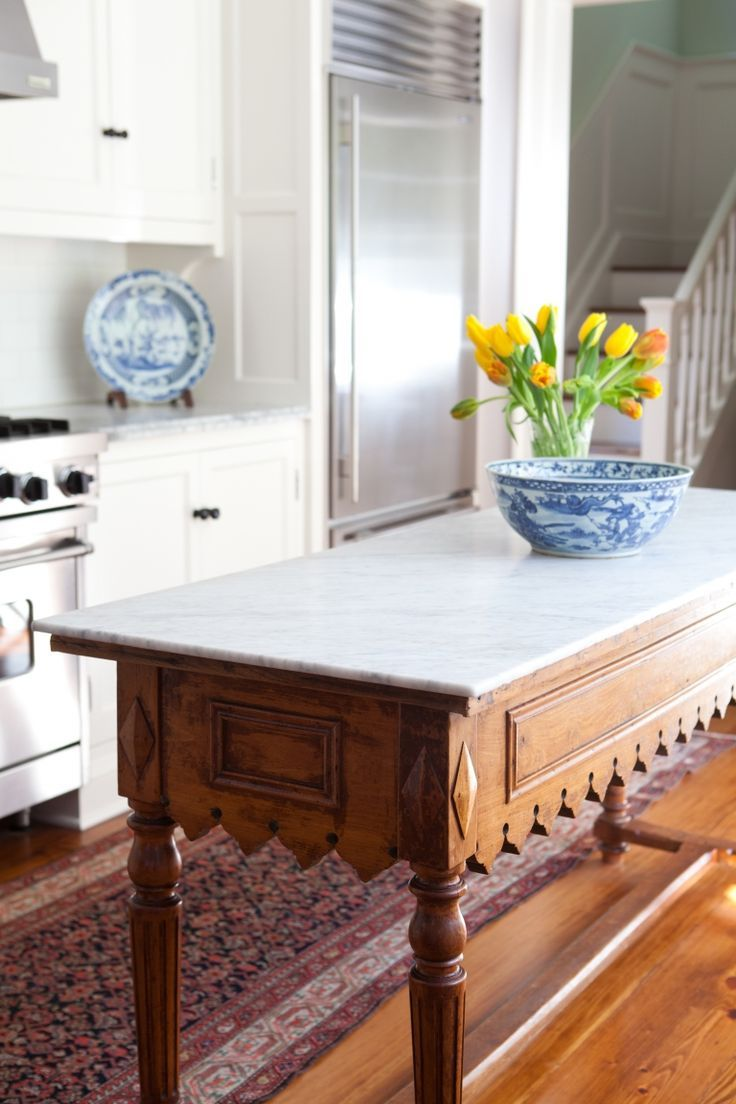 Antique Buffet Table Reimagined With A Marble Slab Top And Repurposed As  Kitchen Island. Brilliant