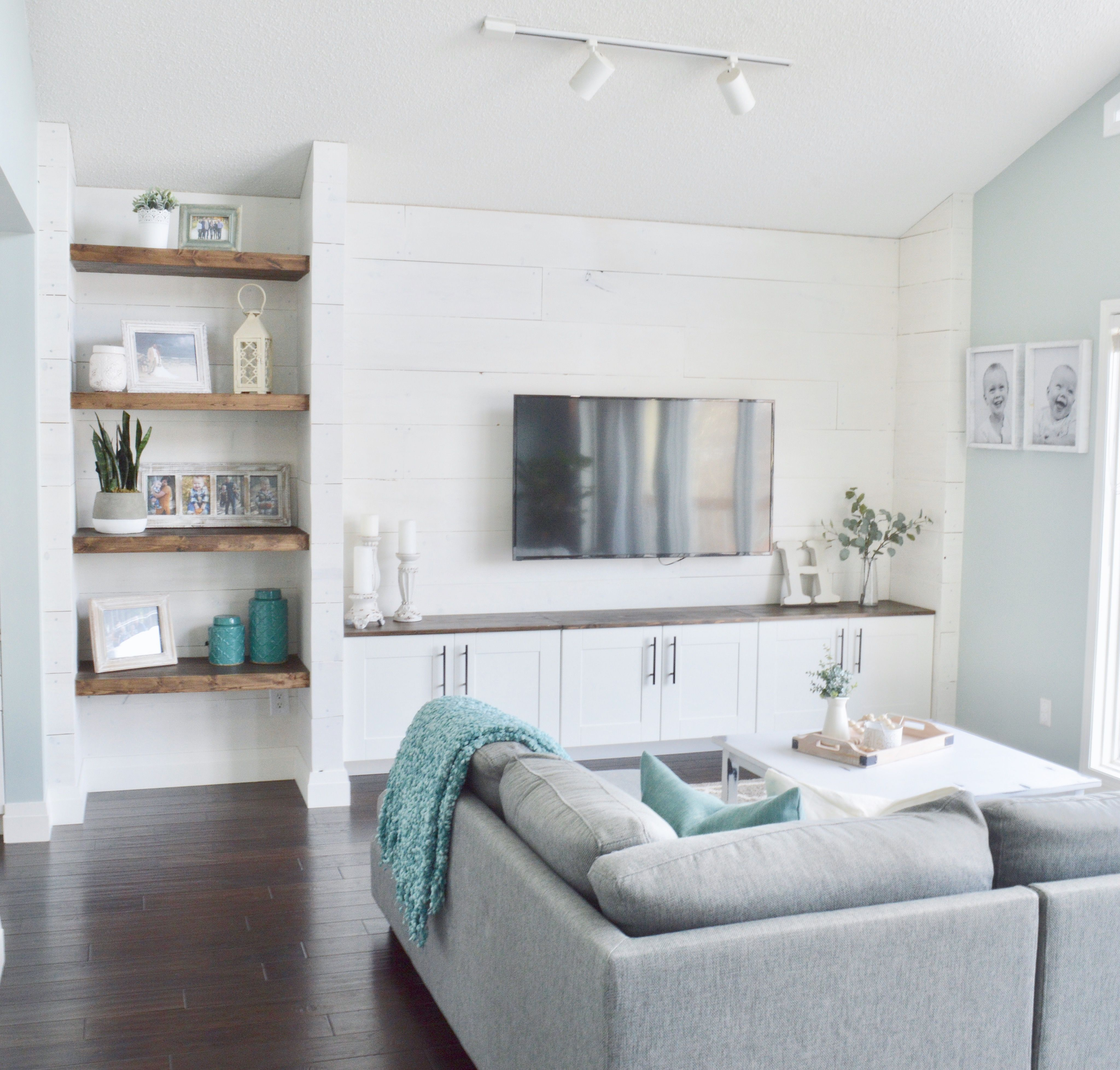 build your own shiplap wall unit with ikea cabinets and